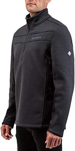 Spyder Men's Encore Fleece Jacket – Male Half Zip Pullover Outdoor Apparel, Large, Black