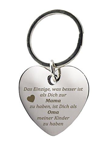 """Schlüsselanhänger Herz mit Gravur\""""Das Einzige was besser ist als Dich zur Mama zu haben, ist Dich als Oma meiner Kinder zu haben\"""" - Chrom"""