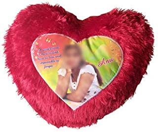 Sri Balaji Printed Gifts - Fabric Personalized Red Heart Shape Fur Pillow with Your Photos and Messages (Multicolour)