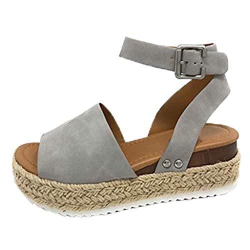Sandalen Frauen Sommer Mode Schnalle Riemen Wedges Retro Peep Toe Sandalen (38,Grau)
