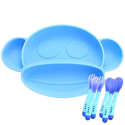 O³ Plato Bebe Ventosa - Con 3 Cucharas Silicona Bebe & 3 Tenedores - Plato Ventosa Bebe - En 2 Colores (Azul)