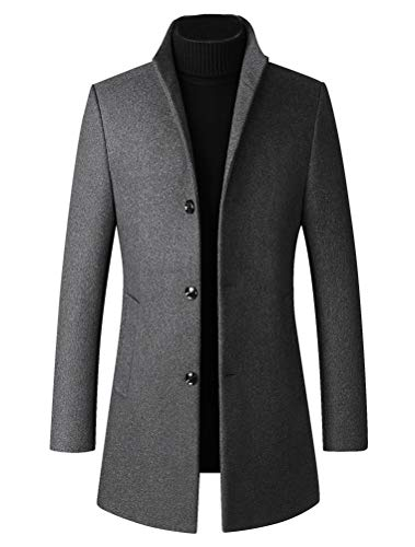 LaovanIn Men's Trench Coat Winter Long Jackets Business Wool Blend Pea Coat Single Breasted Overcoat Windproof Thick Gray Large