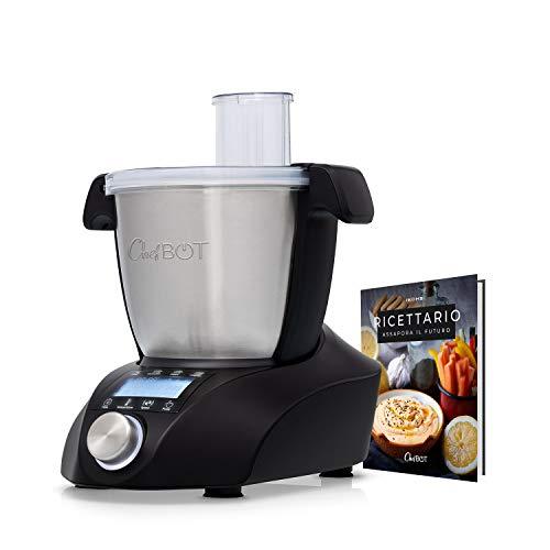 CHEFBOT COMPACT - Robot da Cucina Multifunzione, Compatto, 23 Funzioni, 10 Velocità con Turbo, 3,5 Litri in Acciaio Inossidabile, Senza BPA (Chefbot con ricettario - Nero)