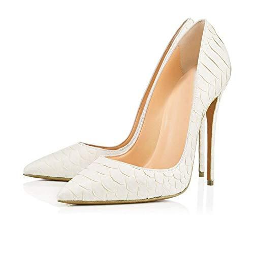 Señoras europeas y americanas sexy zapatos de boda con estampado de serpiente blanca zapatos de tacón súper alto con punta en punta gris,Blanco,40EU