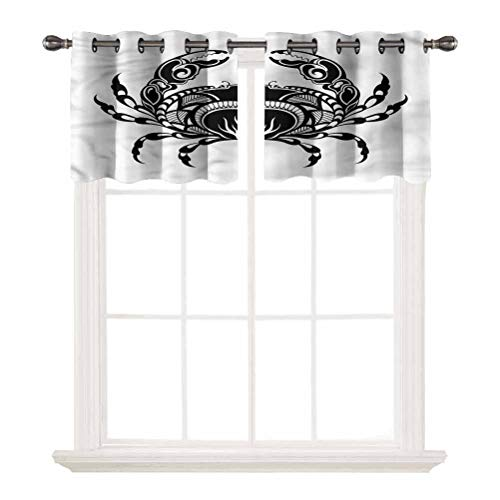 SoSung 3D Printed Window Cafe Bedroom Bathroom Valance,Crabs,Artful Aquatic Arthropod,for Kitchen Living Decor with Grommet Tier,W42 by L12,2 Panels