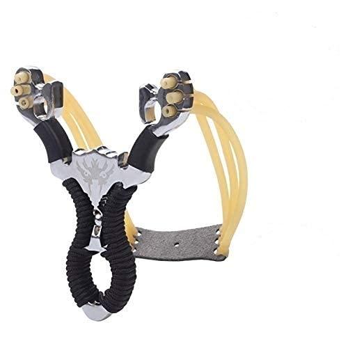 Potente Juego De Tirachinas De Acero Inoxidable para Deportes Al Aire Libre con Bolas De Acero Bolsa De Munición Caza Al Aire Libre(2 Bandas De Goma)