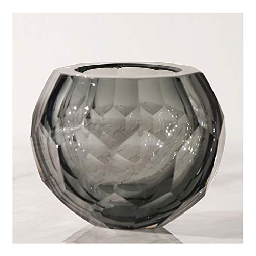 Vases for Flowers Modern Crystal Glass Candle Holder Small Vase Gray Yellow Crystal Vase Can Be Used As a Creative Candle Holder for Decorative Candles Or Flower Arrangement Wedding Home Decoration Va