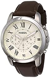 44 mm case, 22 mm band width, mineral crystal, Quartz movement with chronograph analog display Round silver-tone stainless steel case, with a cream dial Brown, leather strap Water resistant up to 50 m: Wearable while swimming in shallow water Packed ...
