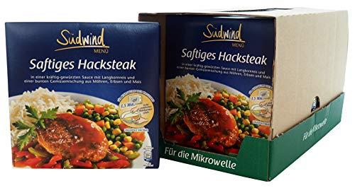 Saftiges Hacksteak in würziger Sauce mit Langkornreis und feiner Gemüsemischung – 7er Pack (7 x 480g) - Fertiggerichte für die Mikrowelle / Wasserbad - Südwind Lebensmittel