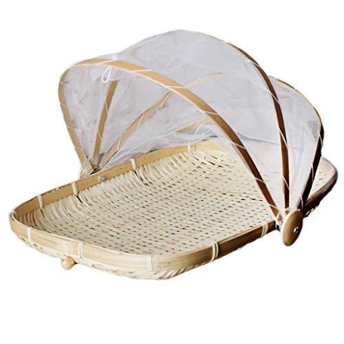 Szetosy, Cestino in bambù intrecciato a mano con copertura in rete, per coprire e servire il cibo, a prova di insetti, antipolvere, per pane, frutta e verdura, Bambù, Stile 1, 34x29CM