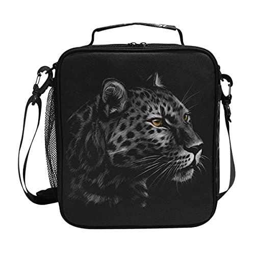 AJINGA Bolsa de almuerzo con diseño de cabeza de leopardo, color negro, con correa para el hombro, para hombre