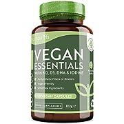 Mélange Vegan Essential − Multivitamines et Multiminéraux pour Compléter un Régime Alimentaire Végétalien − Contient de la Vitamines B12 et D3, DHA, Iode, Fer et Zinc − Fabriqué par Nutravita