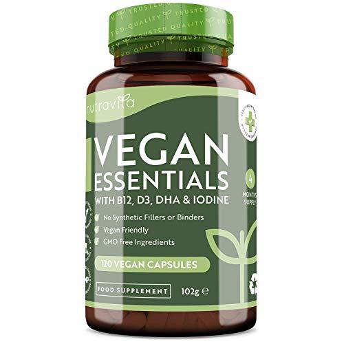 Vegan Essential Mix -Formulación multivitamínica y multimineral para apoyar una dieta basada en plantas - 120 Vegan capsulas - con vitamina B12, D3, DHA, yodo, hierro y zinc - Hecho en el Reino Unido