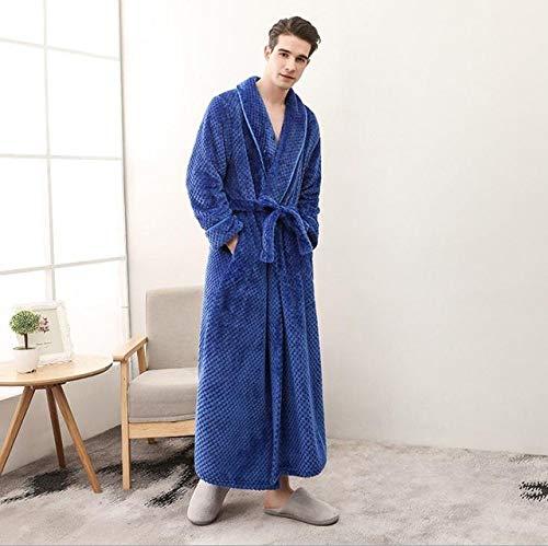 YPDM Bademantel,2018 Winter Herbst dicken Flanell Männer Frauen Bademäntel Herren Homewear männlich Nachtwäsche Lounges Pyjamas Pyjamas, dunkelblauer Mann, M