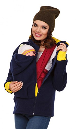 Zeta Ville - Damen Top Sweatshirt mit Kapuze Schwangerschafts Babytragens - 032c (Marine, EU 42/44, XL)
