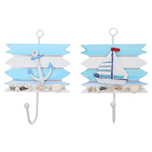 GARNECK 2Pcs Ganchos de Pared de Playa Colgadores de Pared Náuticos Conchas Marinas Colgadores de Pared de Madera Decoración de Pared Mediterránea para Colgar Abrigos Clave Sombreros