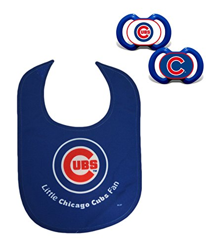Official MLB Fan Shop Authentic Baby Pacifier and Bib Set. Start The Little Ones Out Early in Joining The Number One Major League Baseball Fans (Chicago Cubs)
