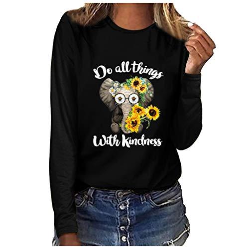 JUTOO Damenmode Plus Size Bluse Print Rundhalsausschnitt Langarm T-Shirt Tops(Schwarz,M)