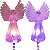 2 Piezas de Luces de ángel solares para jardín al Aire Libre a Prueba de Agua, ángeles solares para la Madre del Cementerio, decoración de terraza de césped al Aire Libre