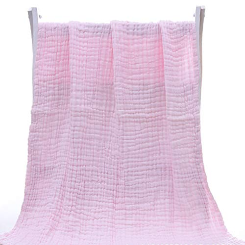 Pinhan Coton Doux Enfant Kid bébé Serviette de Bain Swaddle Blanket Wrap Burping Chiffon Respirant respectueux de la Peau, Rose