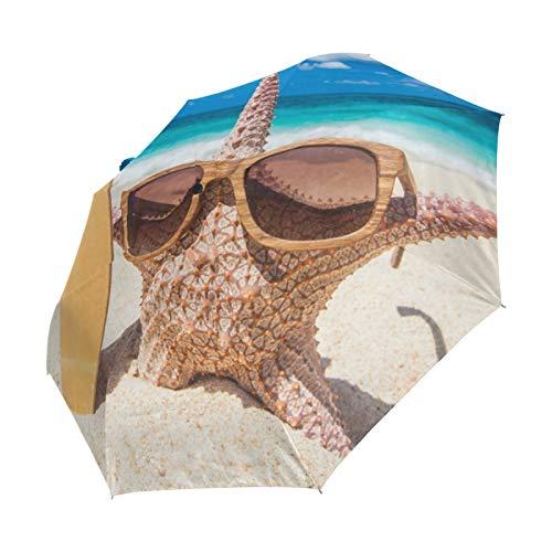 Ahomy Seestern Surfer am Strand Faltbarer Regenschirm Regen Winddicht Automatischer Sonnenblock Kompakt Reise Regenschirme für Damen Herren