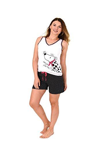 Normann Damen Achselhemd Shorty Pyjama Tanktop mit Hundemotiv und Tupfen - auch in Übergrössen, Farbe:Weiss;Größe:44/46