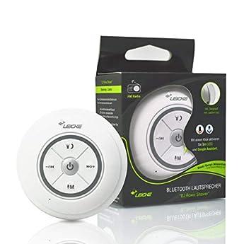 Foto di Leicke - Altoparlante Bluetooth per Doccia DJ Roxxx Shower, Lettore MP3, Impermeabile e Portatile, con Ventosa, Resistente a Polvere/Vapore/Acqua, Ingresso AUX, Vivavoce, Durata di Gioco Fino a 5 Ore