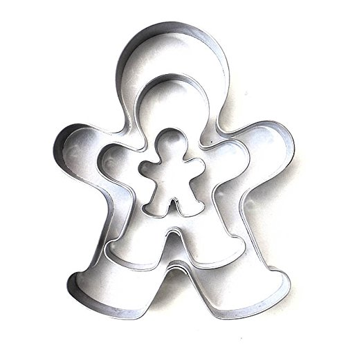Molde de galletas de Markenlos con forma del hombre de jengibre (set de 3 en 3/6,5/10 cm), de acero inoxidable