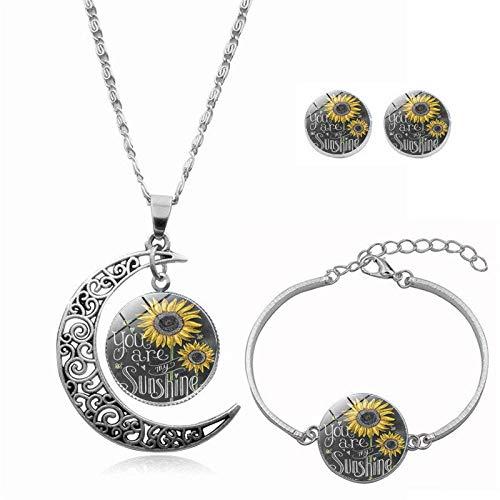QZH Collares largos con colgante para mujer, diseño de girasol amarillo, pulsera de luna giratoria, collar europeo y americano, joyería con colgante de cristal, regalo de moda