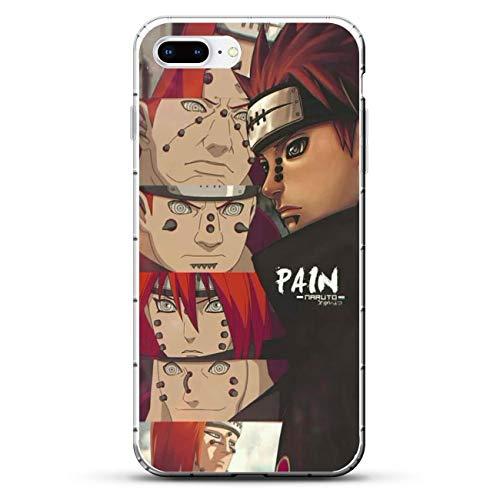 GJGSWY Case for Apple iPhone 7 Plus/8 Plus, Naruto-Akatsuki Members Sect Cloud 7 Clear Silikon Coque Print Soft Shockproof Slim Soft TPU + Matte PC Back Phone Case