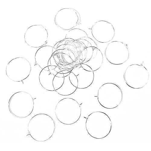 Charming Beads Ottone Ciondoli Bicchiere Vino Tono d'Argento Tondo 0.8mm x 25mm Pacco di 30