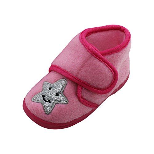 Brandsseller Zapatillas de estar por casa con estrella brillante, suela antideslizante y cierre de velcro para niñas, colores: rosa, tallas 22-28, color Rosa, talla 25 EU
