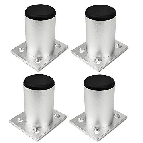 HWJ 4 inch / 10 cm poten van aluminiumlegering, meubels, zilver, verstelbaar, bank, stoel, garderobe, tv, kast, houder, benen, 4 stuks