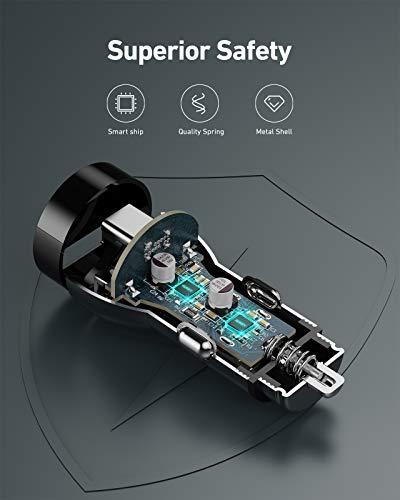 AUKEY Kfz-Ladegerät 48W Dual-Port USB C Zigarettenanzünder USB-Autoladegerät PD & QC 3.0 für iPhone 12/ Pro Max/Mini/iPhone 11 Pro/Pro Max/SE/XR/XS/X / 8P, MacBook, Samsung, Pixel, LG