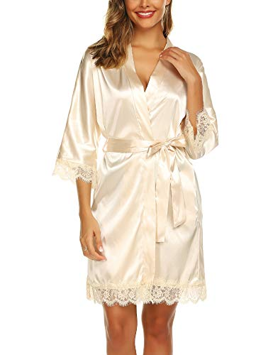 BESDEL Frauen Satin Robe Brautkleid Brautkleid Brautjungfer Kimono Nachtwäsche Beign Mittel
