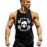 GZXISI Mens Skull Print Stringer Bodybuilding Gym Tank Tops Sleeveless Workout Shirt Fitness Vest (#2 Black, Medium)