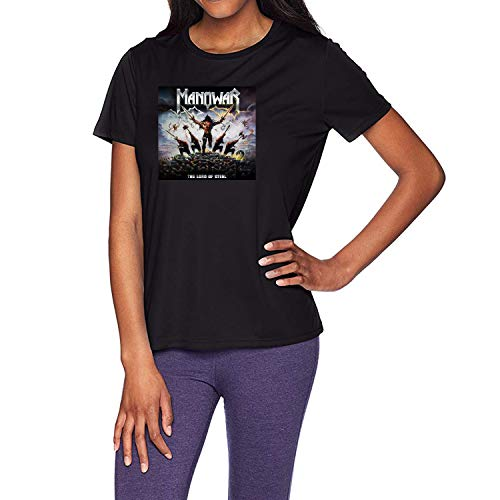 HAOKUII Damen Black T-Shirt Manowar The Lord of Steel Tops Short Sleeve T-Shirt