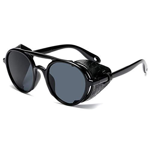 XIAOYUTOU Occhiali da Sole Vintage Steampunk Uomo Donna in Pelle con Scudi Laterali Occhiali da Sole Rotondi Stile Occhiali da Donna (Lenses Color : Black Grey)