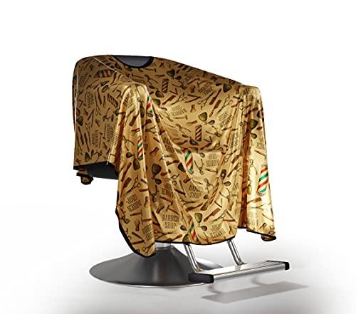 Friseurumhang aus Goldenem Satin, Original Barbermood Barber Cape, Professional Hair Design Salon Cape, Hairdressing Cape, Friseurbedarf,138 cm x158 cm, luftdurchlässig, einstellbar, waschbar.