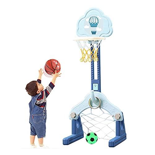 Basketball Hoop Canastas de Baloncesto para Casa, 3 en 1 Canasta Baloncesto Infantil Altura Ajustable, Juegos Exterior con Fútbol, Lanzamiento de Anillos (Color : Blue)