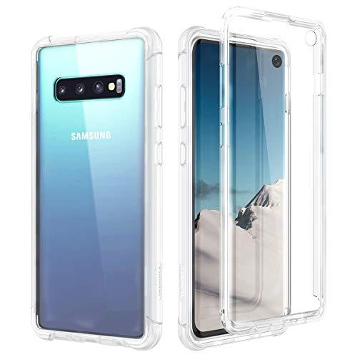 SURITCH Kompatibel mit Samsung Galaxy S10 Hülle Transparent, 360 Grad Stoßfest Schutzhülle, Durchsichtig Handyhülle Hybrid Rundumschutz mit Displayschutz und Silikon TPU Bumper - Klar