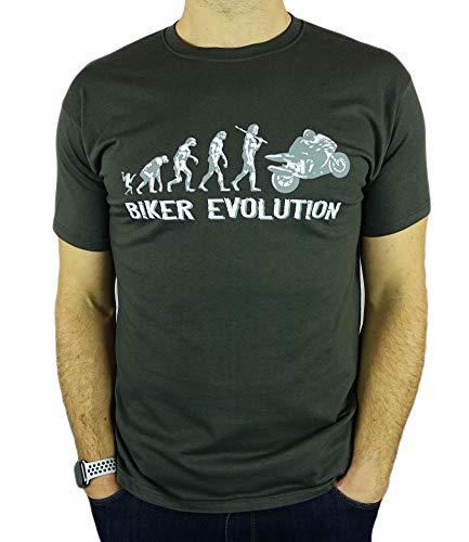 Motorbike/Superbike Moto GP Evolution - Regalo de cumpleaños Divertida Moto/Presente para Hombre de la Camiseta Gris De Carbón M