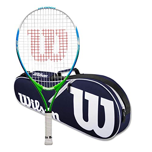 Wilson US Open 23 Junior Tennis RacquetBundled with a Navy/White Wilson Advantage II Tennis Bag (Perfect for Girls Age 7-8)