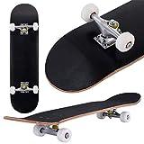 COSTWAY Skateboard Planche à roulettes en Bois d'Erable pour Les Enfants, Jeunes et Adultes79x20cm (Noir)
