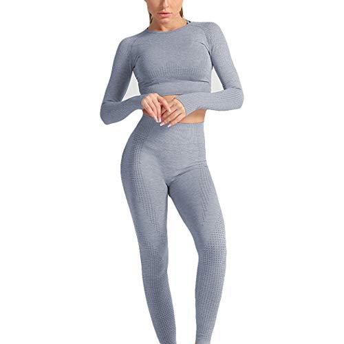 HANMAX Damen Langarm Freizeitanzug Sportanzug Jogger Bauchfrei Jacke mit Reißverschluss Sporthose Set Jogginganzug (L, Marine)