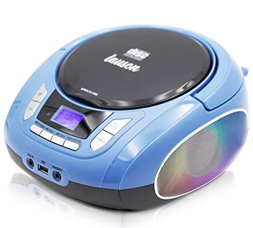Lauson NXT963 Tragbarer CD-Player, LED-Discolichter, CD-Radio, Boombox, CD Player, Kinder Radio, Stereoanlage, LCD-Display, Netz & Batterie, Blau