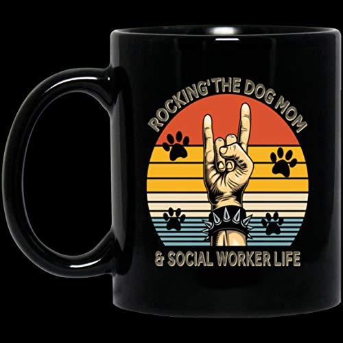 Retro Rocking The Dog Mom And Social Worker Life Cute Dog Lover Black Mug