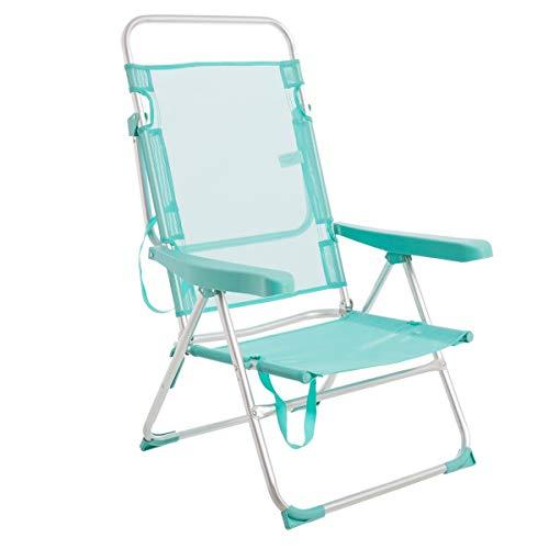 LOLAhome Silla de Playa con Brazos reclinable Verde Aluminio de 100x61x56 cm