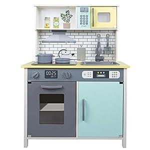 Teamson 85383 - Cocina juguete de madera con accesorios y utensilios, para niños a partir de 3 años, luces y sonidos, Color azul