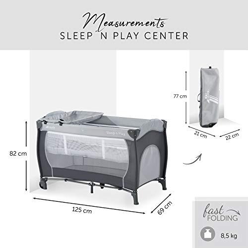 Hauck Sleep N Play Center Reisebett, 6-teiliges, ab Geburt bis 15 kg, inkl. Neugeborenen-Einhang, Schlupf, Wickelauflage, Rollen, Matratze, Tragetasche, höhenverstellbar, mobil & faltbar, Stein/Grau - 8
